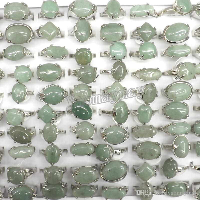 Wholesale 50PCS Natural Green Jade Rings Fashion Jewelry Men's Rings Free Shipping