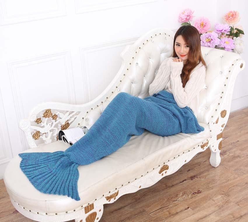 Yarn Knitted Mermaid Tail Blanket Handmade Crochet Mermaid Blanket Kids Throw Bed Wrap Super Soft Sleeping Bed X184 (23)