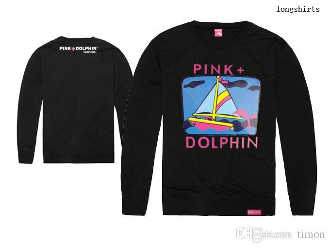 Dolphins rosa dos homens camisetas impressão clothing algodão moda hip hop tshirt completo top marca tee o-pescoço longo t-shirt frete grátis
