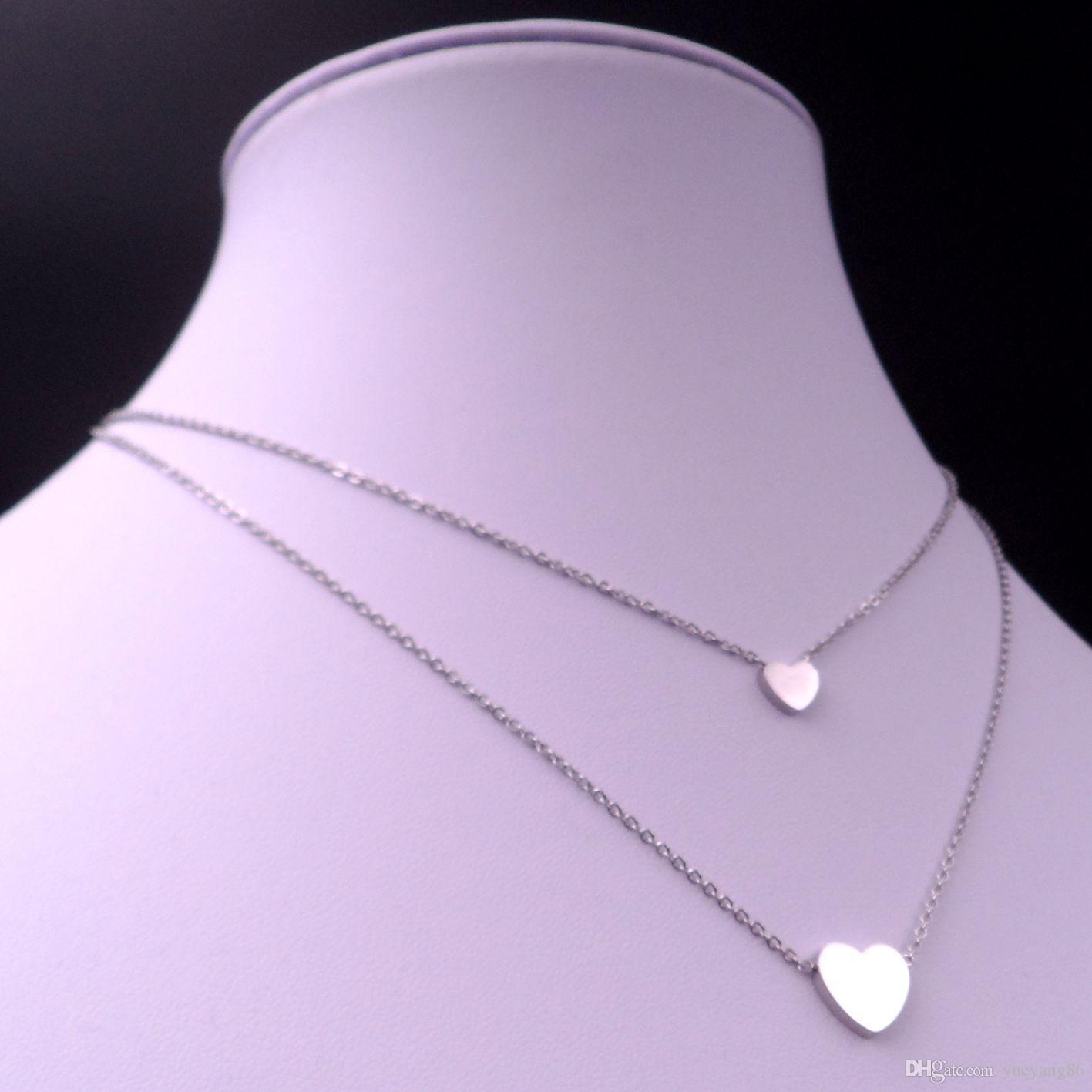 Freies verschiffen Nizza design GNAAY SCHMUCK bester preis Silber Edelstahl Nette reizende Art Doppel Herz Anhänger halskette kette Frauen Mädchen