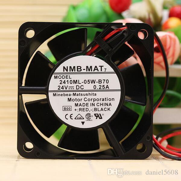 Original NMB 2410ML-05W-B70 6025 6CM 24V 0.25A two wire dual ball cooling fan