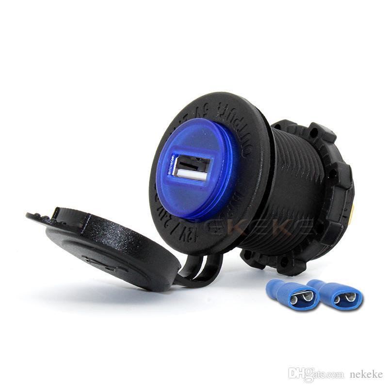 블랙 5V 2.1A USB 전화 12V 오토바이 핸들 바 핸들 바 클램프 충전기 전원 포트 소켓