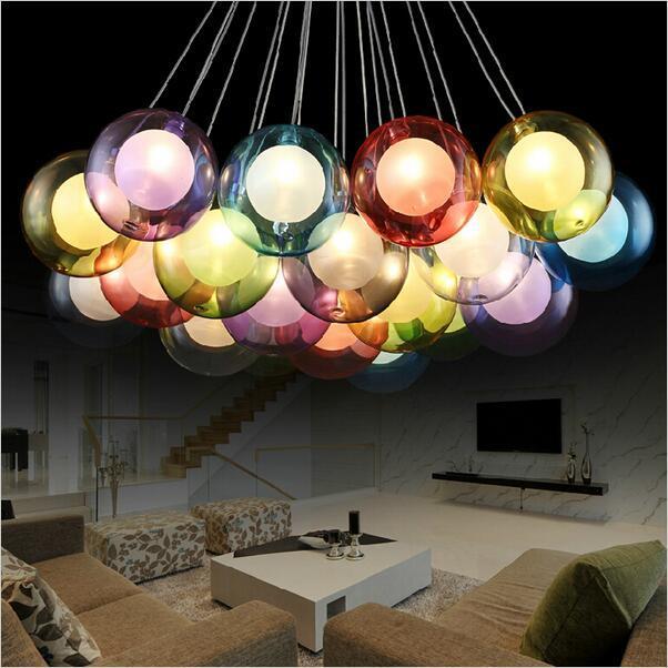 DIY moderno led colorido luzes pingente de vidro para sala de estar sala de jantar loja bar em casa dezembro g4 lâmpada pingente de vidro lampadario moderno