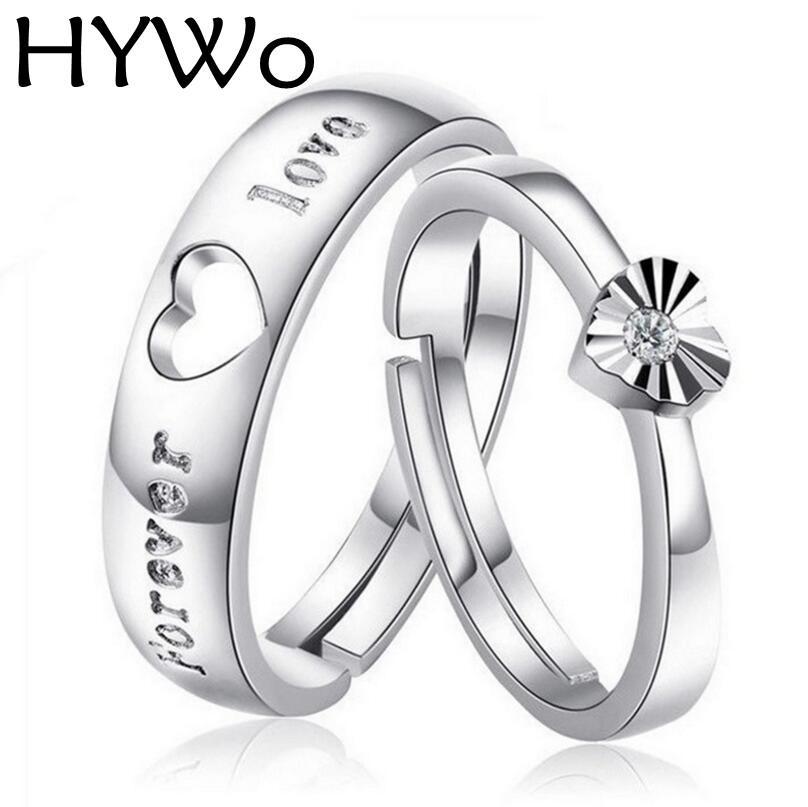 HYWo 1pair 2pcs Fashion Lover's Heart Coppia Anelli per le donne Uomini Wedding Engagement fit donne anelli pandora Argento Placcato gioielli all'ingrosso