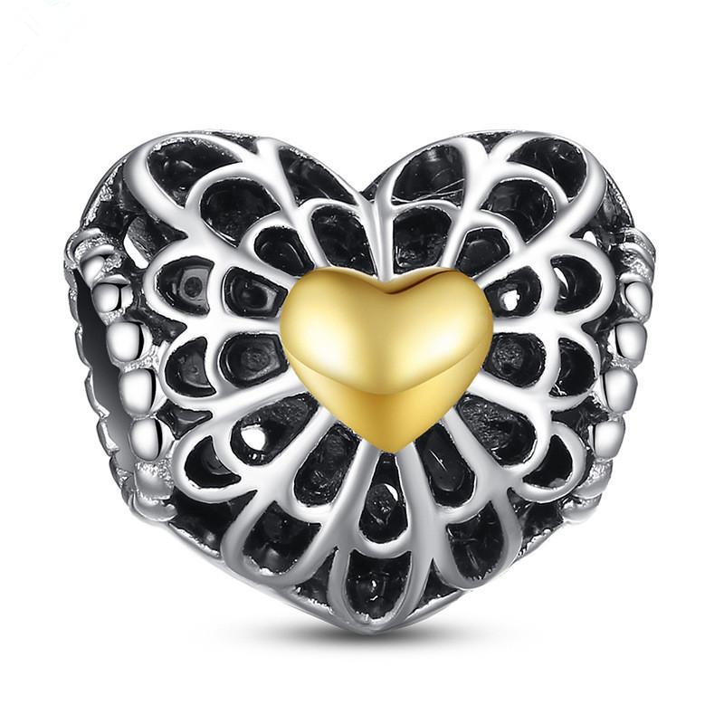 925 Sterling Silver Charm Openwork Gold Hearts Europeo Galleggiante Charms Bead Fit Pandora Snake Catena Bracciale Bracciale FAI DA TE Gioielli