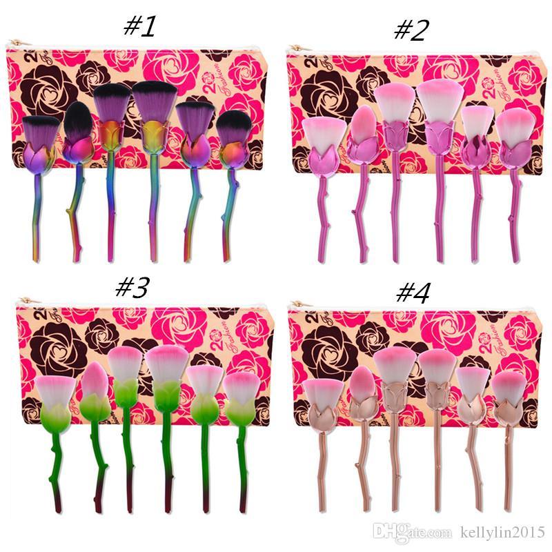 Rose Flower Makeup Brushes Set 6pcs Cosmetic kit Contour Face Powder Eyeshadow Brush 3D Lover's Multipurpose Make up Brushes with bag