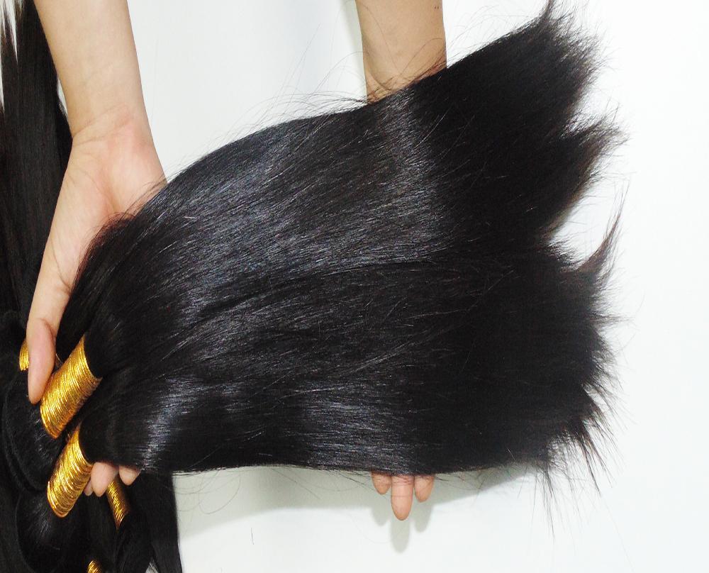 لون الشعر الطبيعي نسج 2pcs / lot 100٪ هندي مزدوج مرسومة عذراء الشعر البشري العظام مستقيم
