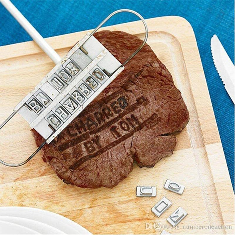 Бесплатная доставка личности стейк мясо барбекю барбекю брендинг утюг 55 сменные буквы наборы инструментов NG4S