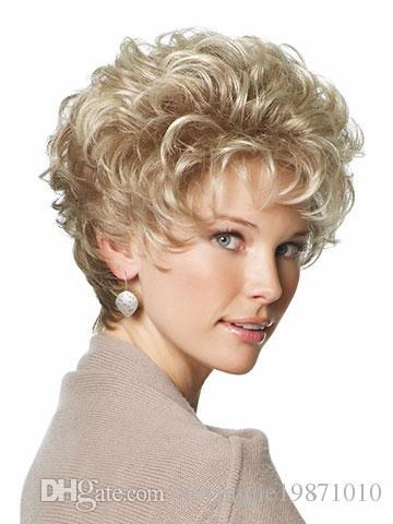 Xiu Zhi Mei 2017 Hot Sale heat resistant synthetic hair kinky curly synthetic short blonde wigs for older women free shipping
