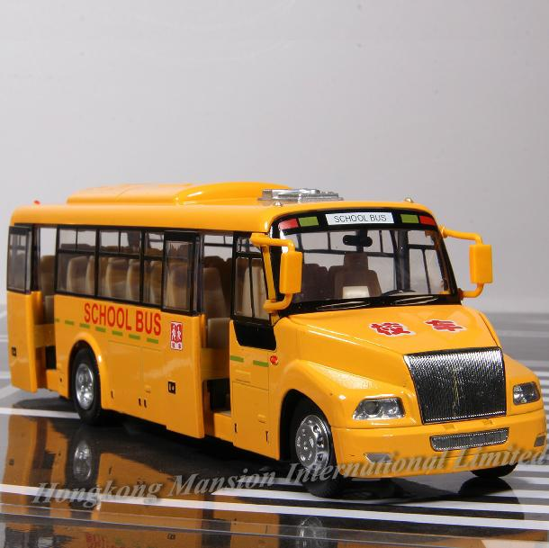 1:32 Scale Alloy Diecast Metal Car Model For BLUE BIRD School Bus Truck Collection Model Pull Back Toys With Sound&Light