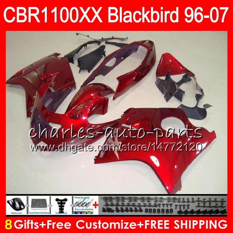 Cuerpo para HONDA Blackbird CBR1100 XX CBR1100XX 02 03 04 05 06 07 81NO56 CBR 1100 XX 1100XX 2002 2003 rojo brillante 2004 2005 2006 2007 Carenado