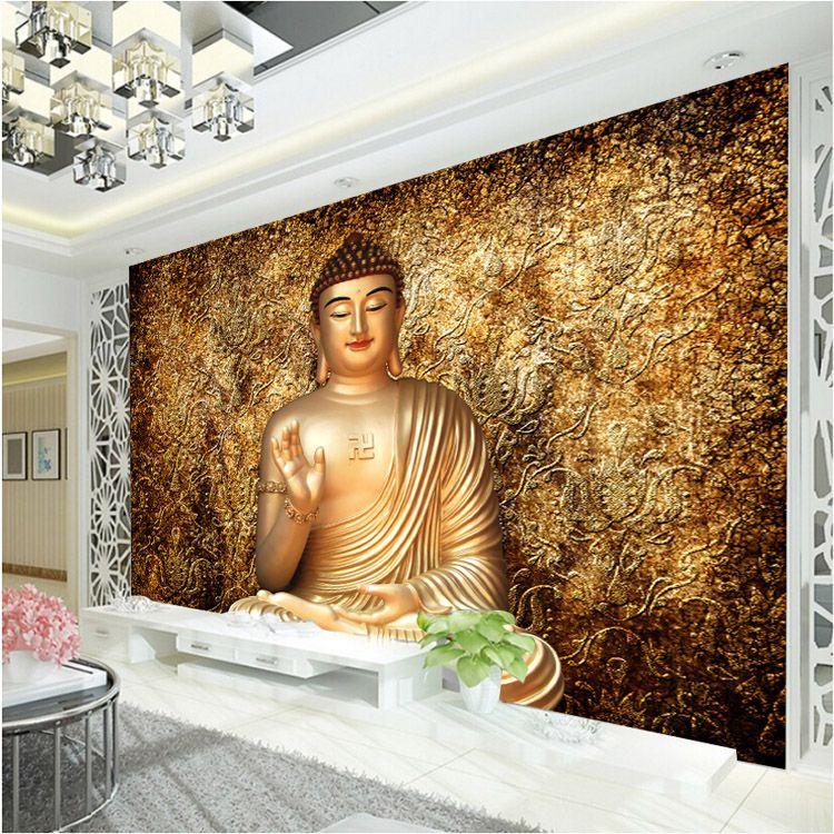 Grosshandel Golden Buddha Fototapete Buddhistischer Tempel Fototapete Benutzerdefinierte 3d Wallpaper Fur Wande Designer Schlafzimmer Wohnzimmer Restaurant Wandverkleidung Von Fashion In The Box 19 14 Auf De Dhgate Com Dhgate