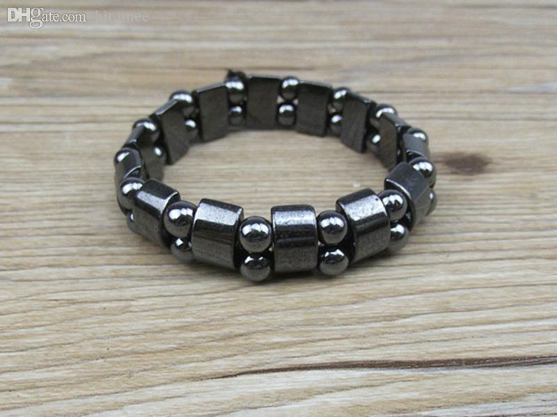 Gros-NAB031 1 pc Haute Qualité Hommes Femmes Noir Naturel Magnétique Hématite Thérapie Arthrite Perles Bracelet 18 cm