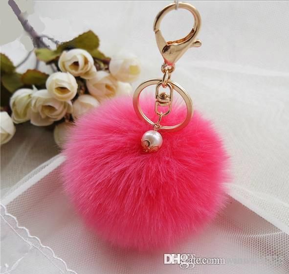귀여운 정품 골드 모피 볼 키 체인 모피 키 체인 모피 열쇠 고리에 대 한 진주 열쇠 고리 자동차 키 체인