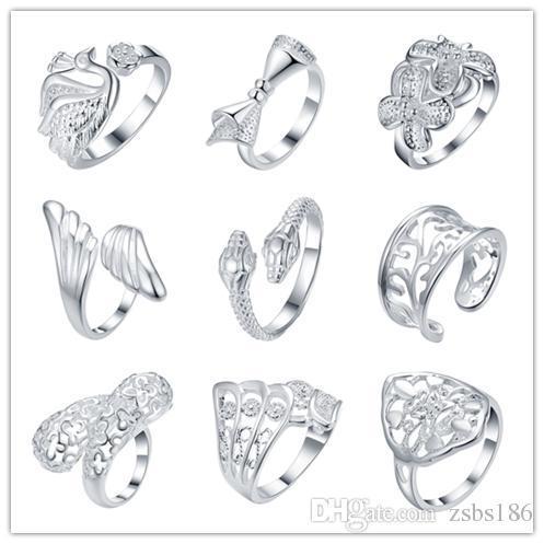 2016 gemischte Reihenfolge 925 Silber Ring Eröffnung Cool Party Schmuck Klassische Glamour Stil Top Qualität Billig Hot 9pcs / lot Kostenloser Versand
