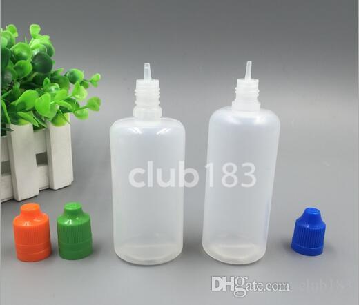 Freies Verschiffen 120ml PE-Kunststoff-Tropfflaschen mit kindersichere Verschlusskappe 120ml e Saft Tropfflaschen, lange, dünne Spitze