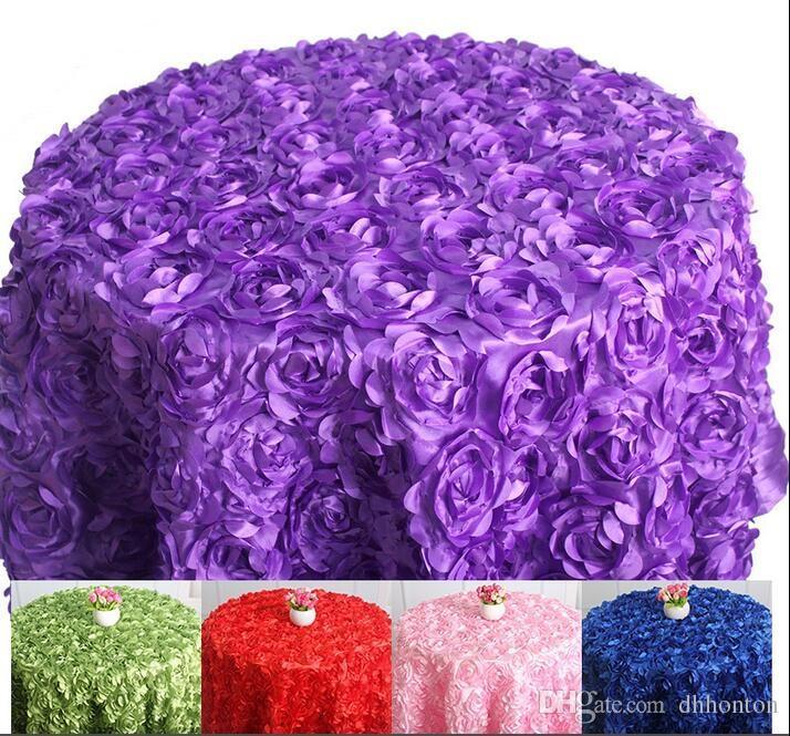 Mantel de mesa redondo para Banquete Wedding Party Decoration Mesas de tela de satén Ropa de mesa Mantel de boda Home Textil WT027