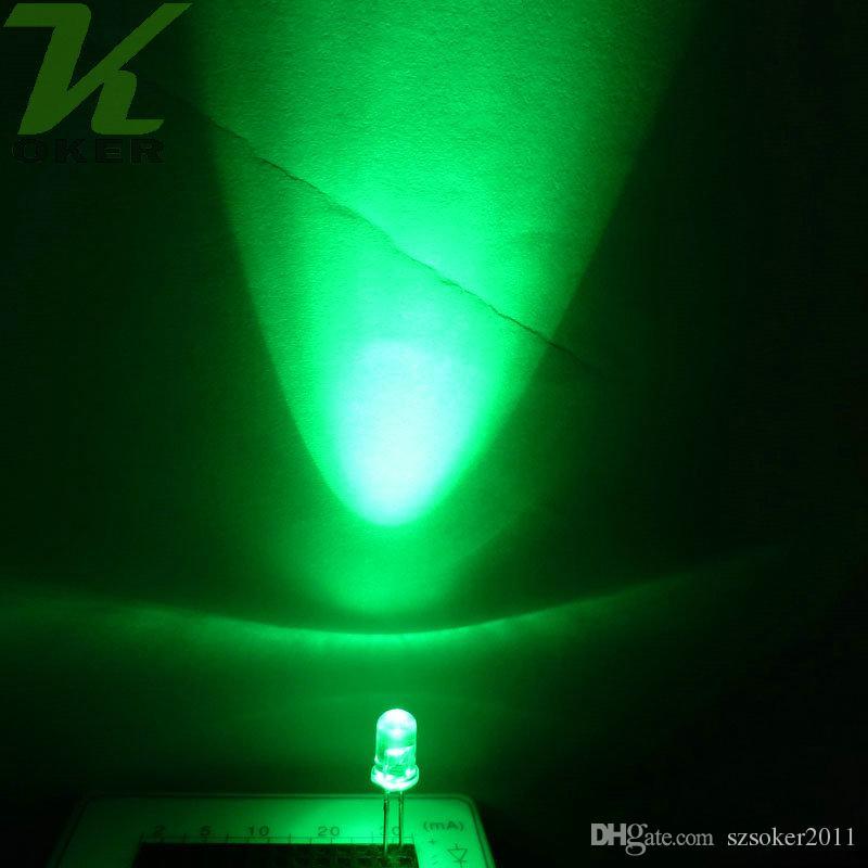 1000PCS 5mm 옥 녹색 둥근 물 명확한 LED 조명 램프 방출 다이오드 울트라 밝은 비드 플러그인 DIY 키트 연습 광각