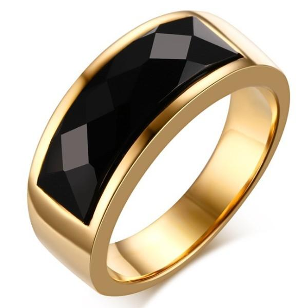 2016 newest Diamond section Black yx agate gold ring fashion arc