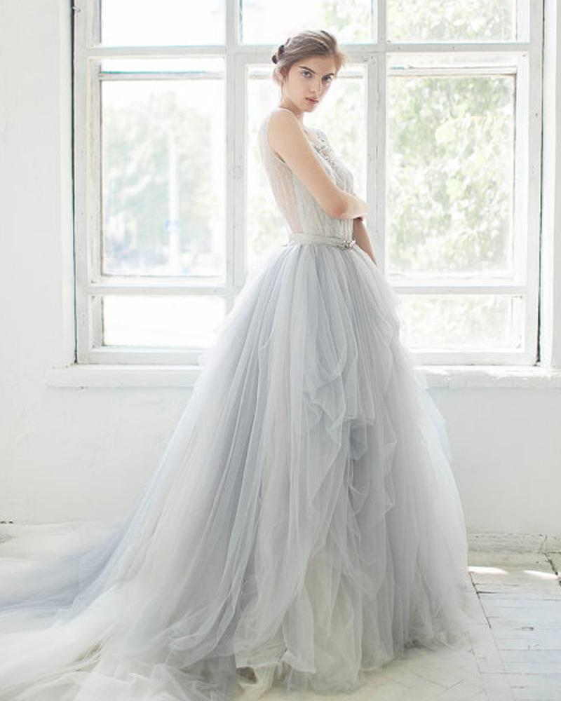 Discount Light Blue Wedding Gowns Sheer Scoop Neck Princess Ball ...