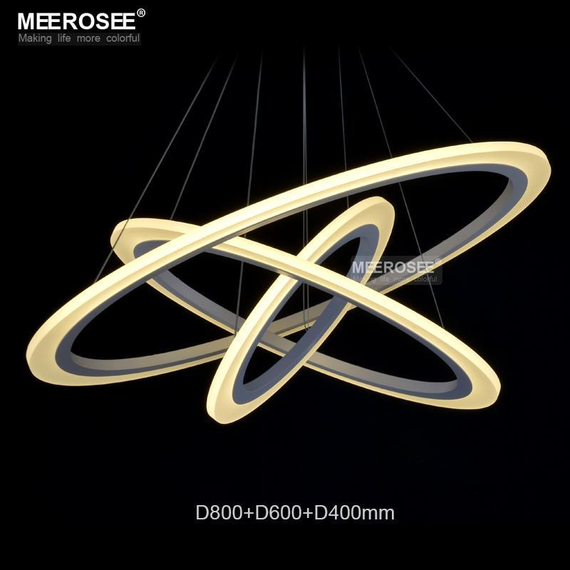 الصمام حلقة الاكريليك الحديثة دائرة مصباح الثريا / قلادة الخفيفة / الضوء المناسب SMD 3014 مصمم الأزياء قلادة مصباح LED