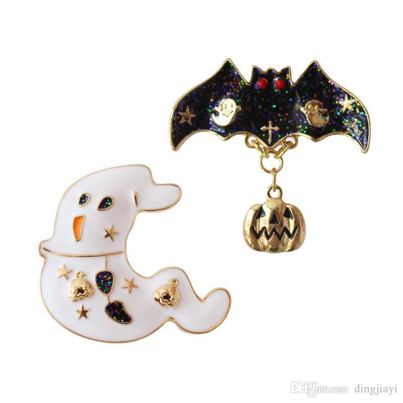 6pc mode bijoux forme alliage de métal hallowmas toile d'araignée spectre étoile de citrouille broche