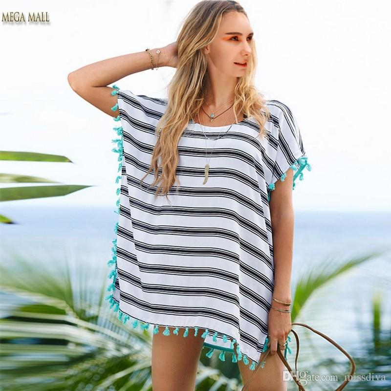 Women Chiffon Tassel Beachwear Bikini Beach Cover Up Kaftan Summer Top Dress