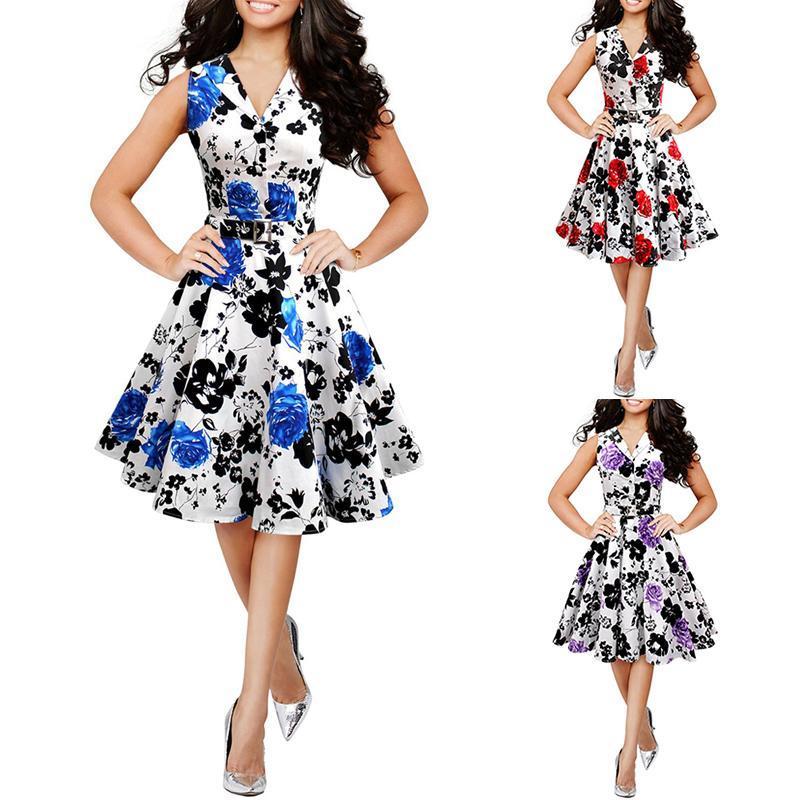 2016 Verano Estilo Floral Maxi Barato Mujer Mujer Playa Impresión Larga Ocasional Floja Vestido Sin Mangas de Gasa Tallas grandes vestidos ajustados
