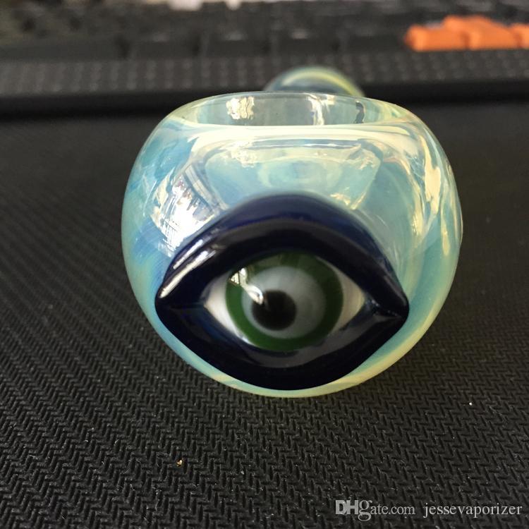 악마의 눈 유리 파이프 새로운 무료 배송 DHL 담배 somking 파이프 눈 디자인 다채로운 높은 품질 유리 손 파이프 담배