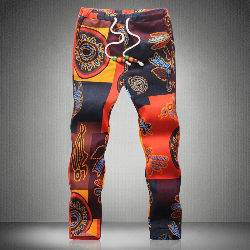 Atacado-2016 coloridas calças harem de Homens Floral Linen Casual Tamanho Grande 5XL Masculino Verão Harem Pés calças confortáveis calças até os tornozelos