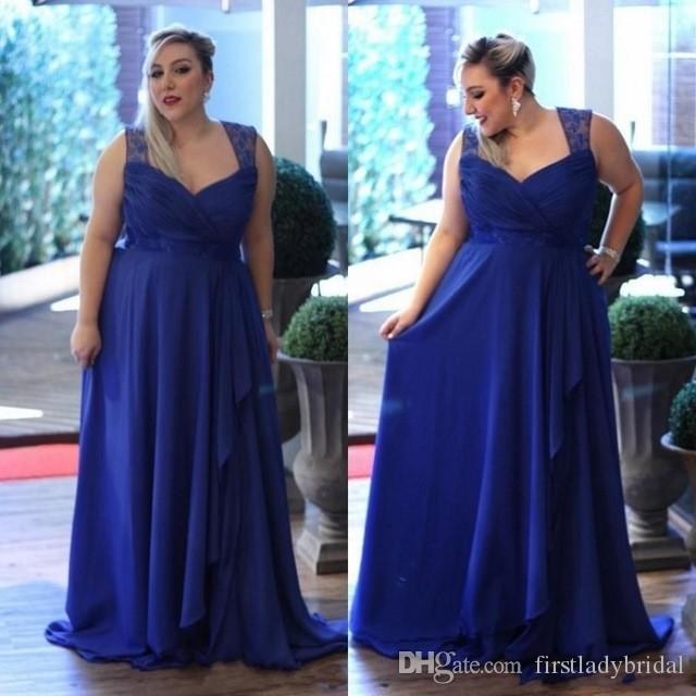 2017 Royal Blue Plus Size Bridesmaid Dresses Chiffon A Line Long Floor  Length Maid Of Honor Gowns Simple Weddings Guest Party Dress Dress For  Special ...