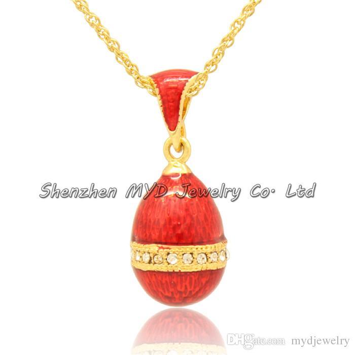 Elegantes joyas de mujer collar de alta calidad de esmalte colorido en forma de huevo estilo ruso Faberge huevo colgantes para damas