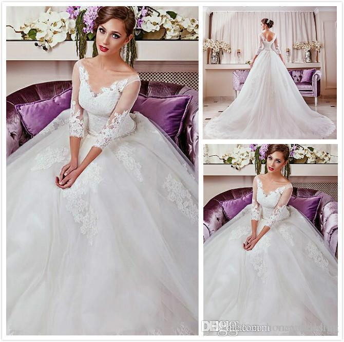 Fashion Vintage Plus Size Wedding Dresses 2016 V-Neck With 3/4 Sleeves Lace Appliques Ruched Tulle Custom Bridal Gowns Cheap Wedding Gowns