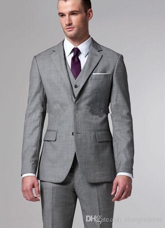 Custom Made Grau hochzeit mann anzüge 3 Stück Anzug zwei taste Wolle Hochzeit Anzüge Bräutigam Smoking Anzug Für Herren (jacke + hose + weste)