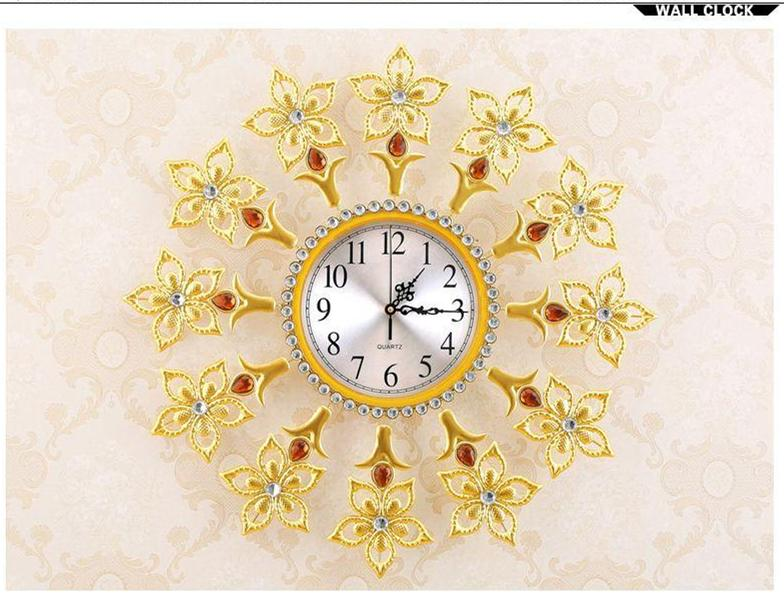 Creative Golden Diamond Lily Clock/ The Sitting Room Quiet Large ...