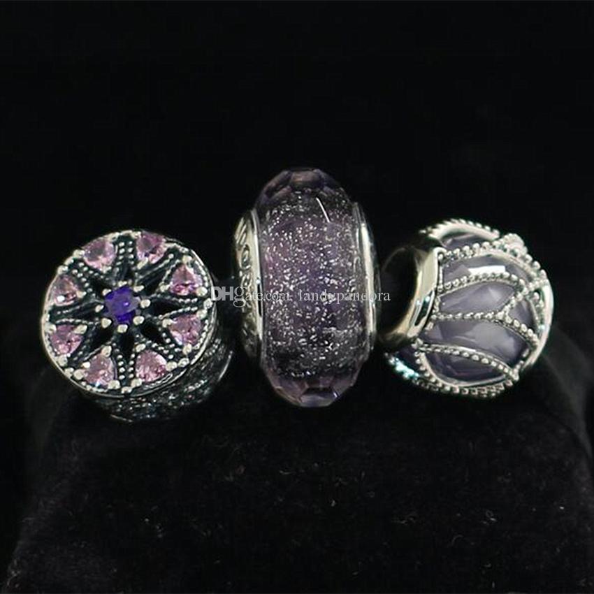 Authentische 925 Sterling Silber schimmernde Medaillon Charm Murano Glas Bead Set passt europäischen Pandora Charm Schmuck Armbänder Halsketten