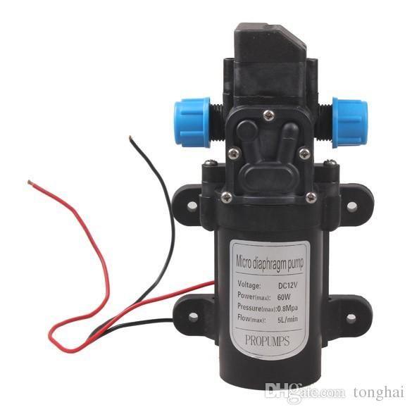 Wholesale DC 12V 60W Mini Micro Diaphragm High Pressure Water Pump Automatic Switch 5L/min H210417