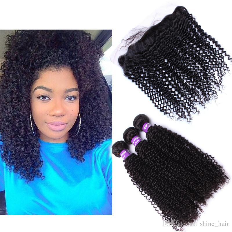 Brésilien Kinky bouclés cheveux humains avec base de soie frontale 4 Pcs Lot Kinky bouclés 3Bundles cheveux brésiliens avec soie Top dentelle Frontals