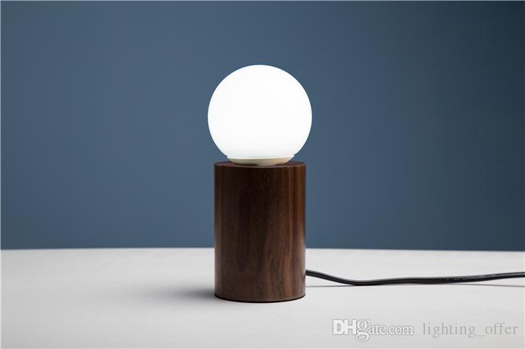 Candeeiros de mesa de nogueira preta pequena (circular) de madeira personalidade criativa retro nostalgia lâmpada de mesa luzes E27 lâmpada LED