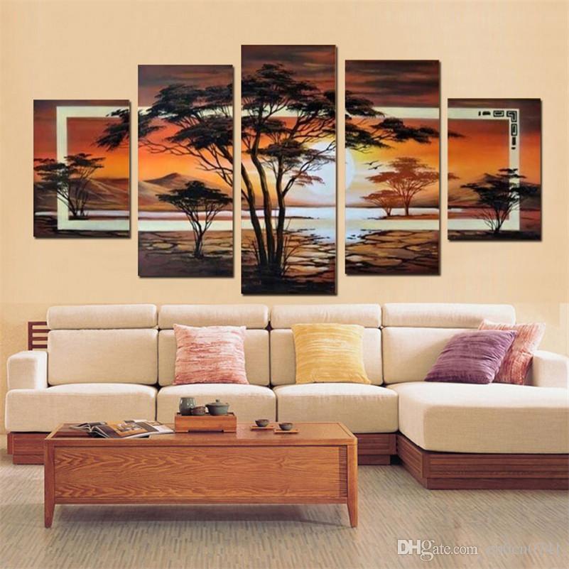100% feito à mão África lago paisagem abstrata Wall Decor pintura a óleo sobre tela 5 pçs / set retrato de parede Home Decor para sala de estar