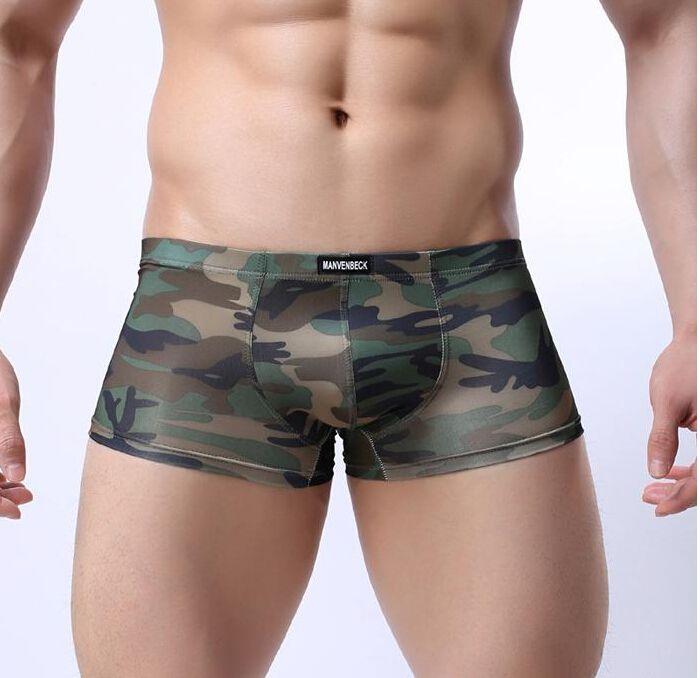 브랜드의 새로운 낮은 허리 망 위장 속옷 사각 팬티 섹시한 남성 반바지