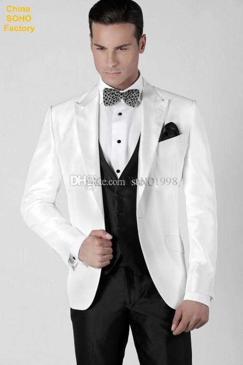 Date Groomsmen Peak Tuxedos De Marié Un Boutons Hommes Costumes Mariage / Prom Le Meilleur Homme Blazer (Veste + Pantalon + Gilet + Cravate) A76