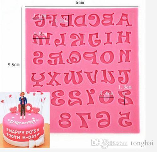 Silikon-Alphabet-Buchstabe-Behälter-Schokoladen-Form-Kuchen-Fondant, der Werkzeuge H210321 verziert