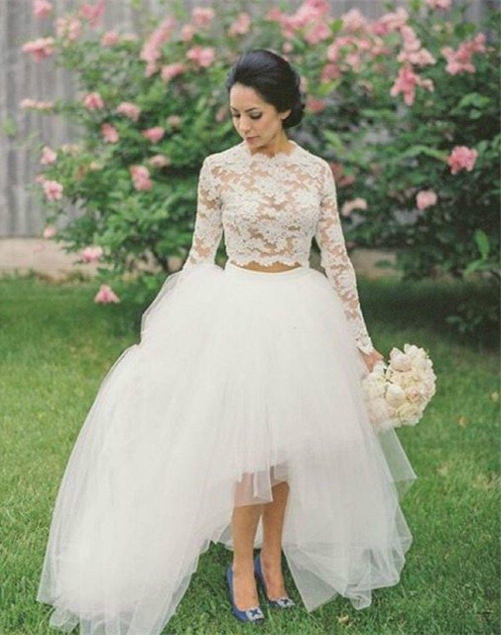 Две части короткие свадебные платья кружева и тюль видеть через суд поезд трапеция свадебные платья с длинным рукавом Jewel декольте стиль страны
