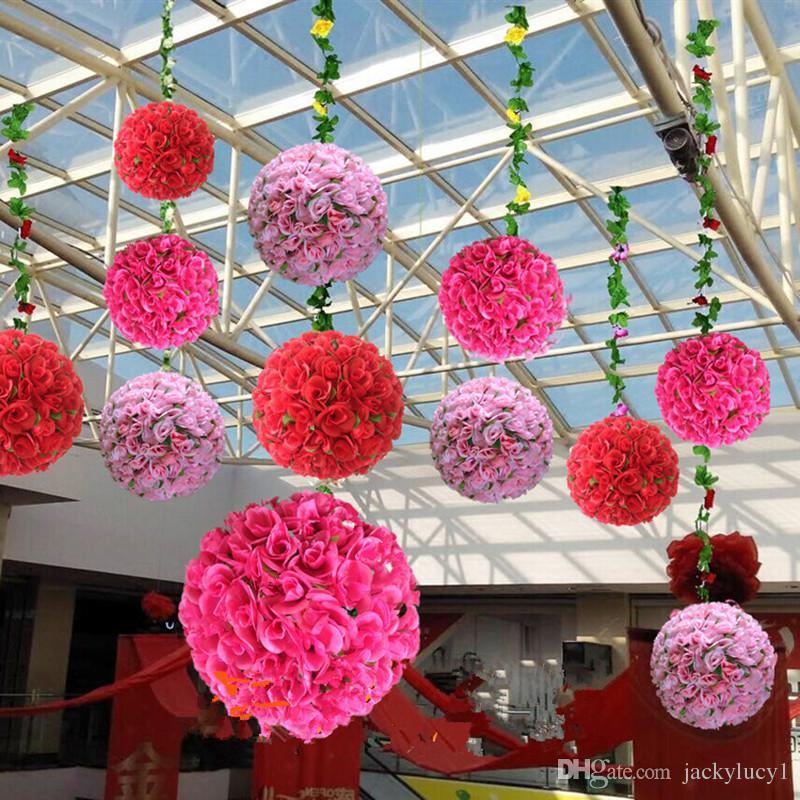 """16 """"(40 cm) Hochwertige Hochzeitsdekoration Mittelstücke Küssen Ball Kunstseide Rose Blume Ball Hängen Ornament 20 farben"""