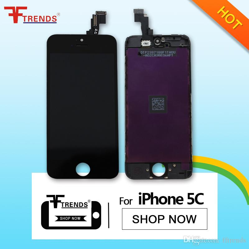Promotion! for iPhone 5C LCD Screen Assembly with Digitizer Frame Touch Screen Display Black Replacement + Low Price 15pcs/lot AA0014