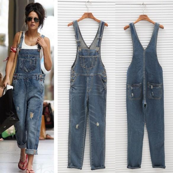 Atacado- 2017 New Womens Ladies Baggy Denim Jeans Comprimento total Pinafore Dungaree macacão geral