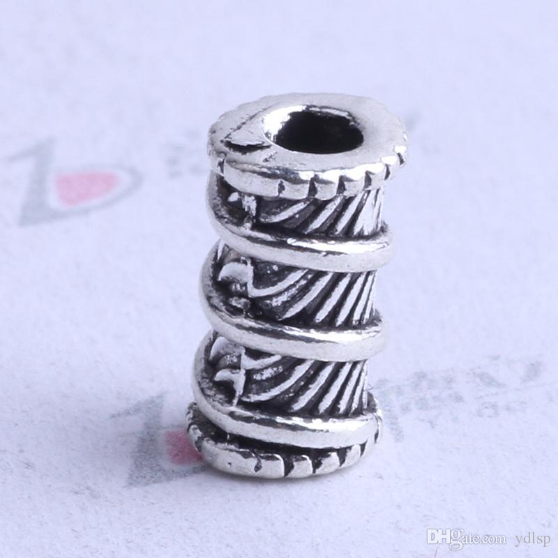 Enjoliveur de perles de fil 500pcs / lot 9 * 6.2mm argent antique / alliage de bronze pour pendentif de bricolage fabrication de bijoux accessoires 2505