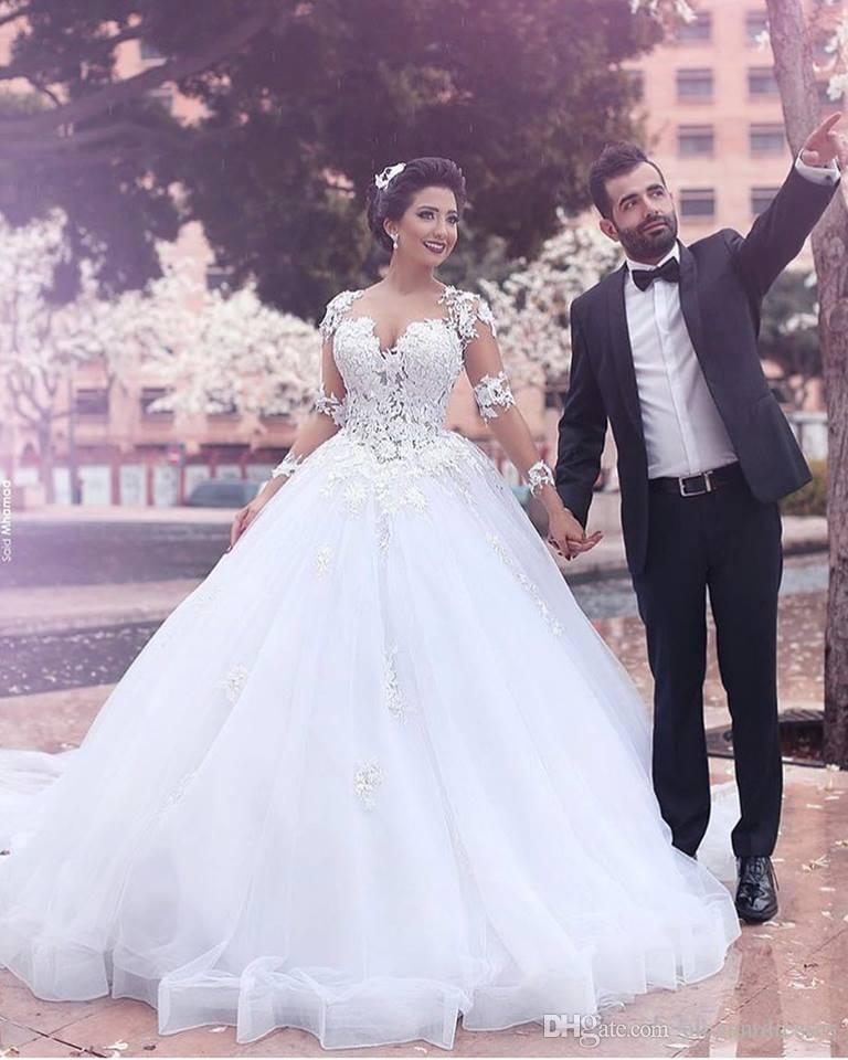 2016 Western Illusion Ball Gown Long Train Wedding Dresses