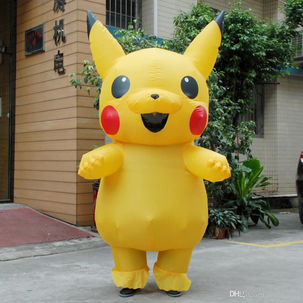 Adults Kids Inflatable Pikachu Mascot Costume Halloween Christmas Costume For Woman Inflatable Yellow Man Costume Party ... & Adults Kids Inflatable Pikachu Mascot Costume Halloween Christmas ...